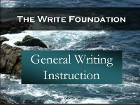 General Writing Instruction Video